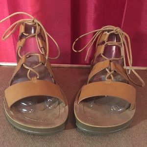 Bamboo Strappy Lace-Up Sandals Tan / 8.5